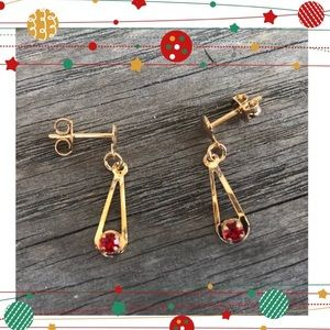 Jewelry - Gold Plated Red Rhine Earrings